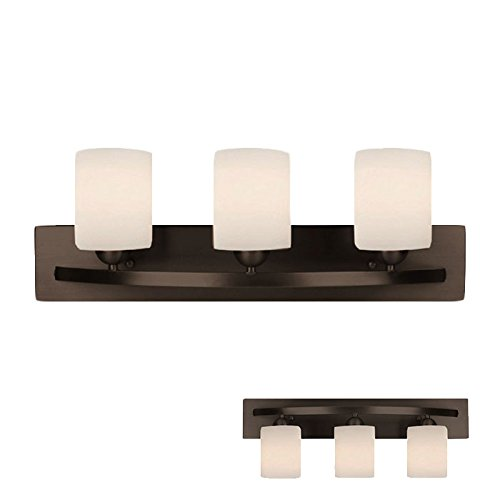 Oil Rubbed Bronze 3 Bulb Bath Vanity Light Bar Fixture Interior Lighting (White Globe Featuring Fixture Glass)