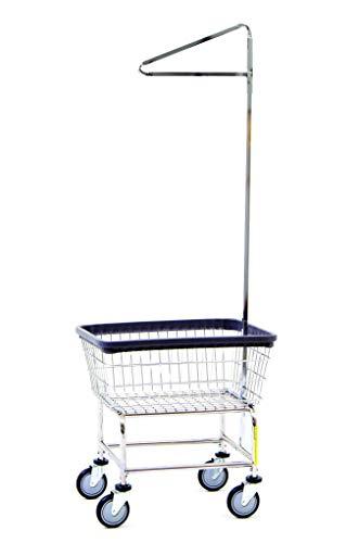 (R&B Wire 100E91 Standard Wire Laundry Cart with Single Pole Rack, 2.5 Bushel, Chrome)