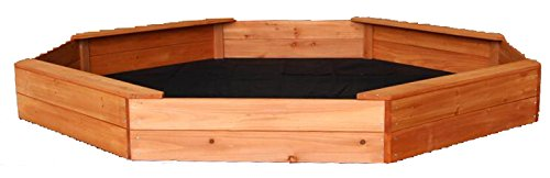 Oliver and Smith - Extra Large Natural Cedar Octogon Wood Sandbox Sand Pit - 81