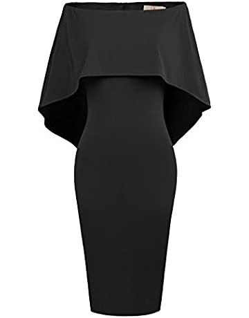c421a6581cf GRACE KARIN Women s Off The Shoulder Cocktail Party Dresses Batwing Cape  Midi Dress