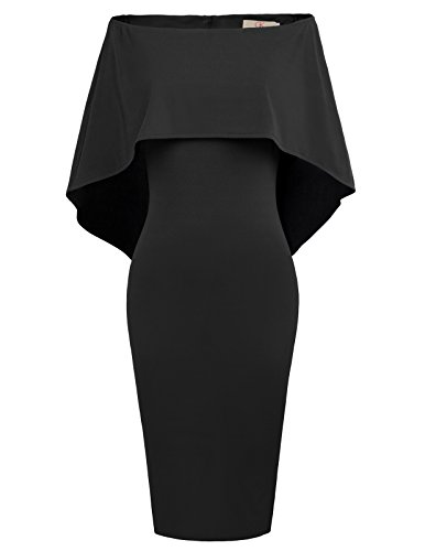 GRACE KARIN Women's Off Shoulder Ruffle Evening Party Bodycon Midi Dress L Black