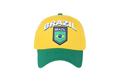 Rhinox Brazil CBF Soccer Football Club Futbol Sun Buckle Yellow Hat Cap