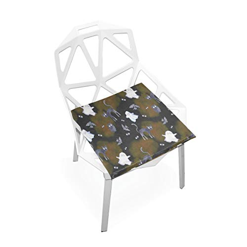 DERTYV Premium Comfort Memory Foam Seat Cushions,Halloween Pumpkin Bat Ghost Cat Chair Pads for Truck Driver,Kitchen -