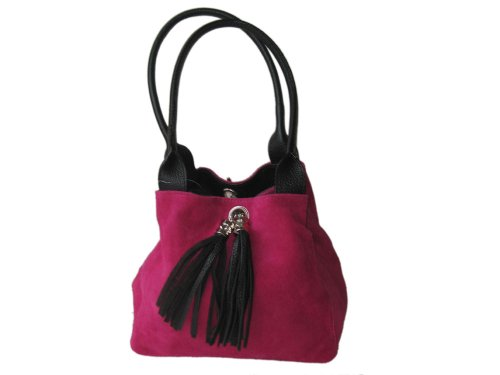 Leather Original Bag Suede and Genuine Reversible Black and Giglio Shoulder Italian Handmade Medium Pink xqIw61R