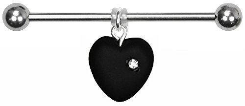 BodySparkle Body Jewelry Juliet Heart Industrial Barbell-14g-32mm-Czech Glass Heart Dangle Industrial Bar -Black