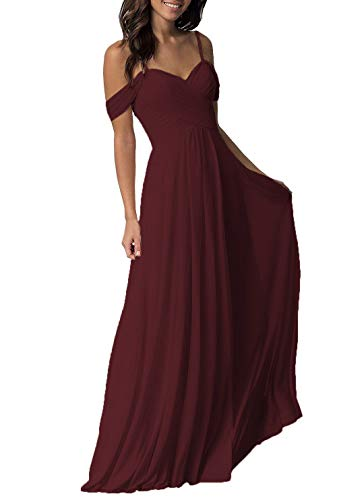 (Burgundy Bridesmaid Dress for Women Long Cold Shoulder Pleated Chiffon Formal Dress for Women)