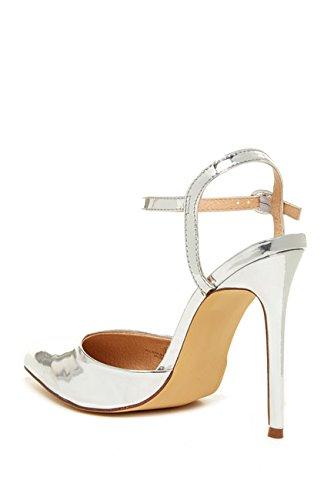 Liliana Women Pointed Toe Dorsay Ankle Strap Stiletto Pump Gisele82 Silver rv05Xv5ORY