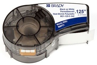 Brady PermaSleeve Heat-Shrink Polyolefin Wire Marking Sleeves (M21-125-C-342) - Black on White Sleeves - Compatible with BMP21 and BMP21-PLUS Label Printers - 7' Length, 0.235'' Width