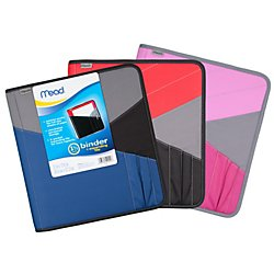 Mead Zipper Binder with Expanding File, 3 Ring Binder, 1-...
