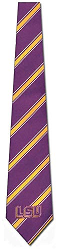 LSU Louisiana State University Striped Mens Neck Tie with NCAA College Sports Team Logos