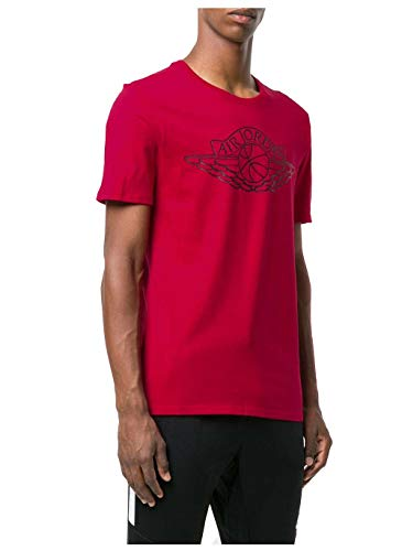 (Jordan Air Mens Iconic Lifestyle Wings T-Shirt Tee AR2831-687 Size M, L, XL (Red, Large))