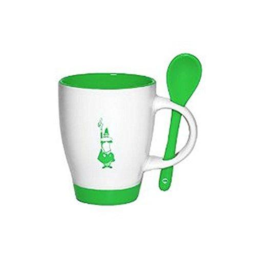 Bialetti Sugar - Bialetti - Mug and Spoon Set - Porcelain - 10cm Height 8.2cm Diameter 12.5cm Spoon - White with Motif - Green