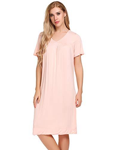 (Ekouaer Women's Sleepwear Cotton Sleep Shirt V neck Short Sleeve Nightgown,Pink,Medium)