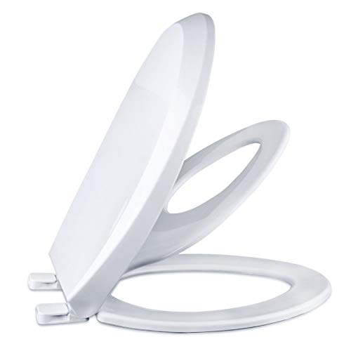 Slow Close Elongated Bowl White Toilet Seat for Adult/Toddler Magnetic Stay Tight No Slam