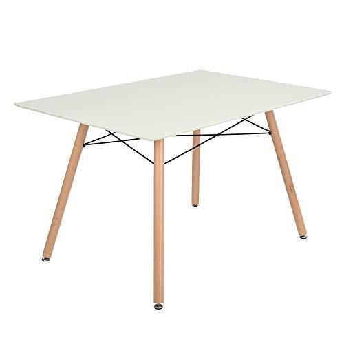 FurnitureR Mesa de Comedor Moderno Eames diseno escandinavo Blanco Retro Escritorio con Patas de Madera Color Blanco