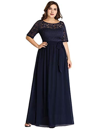 Ever-Pretty Plus Size Women Lace Illusion Mother of The Bride Dresses 24US Navy Blue