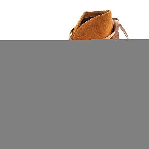 Sopily - Chaussure Mode Bottine Escarpin Stiletto Cheville femmes lacets Talon haut aiguille 11 CM - Camel