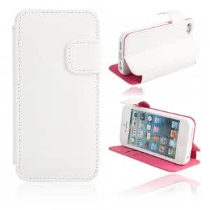 Litchi Pattern PU Leather Protective Case for iPhone 5/5S White