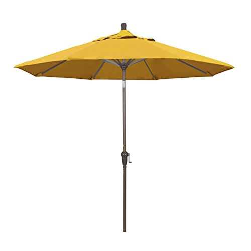 California Umbrella SDAU908900 9′ Round Aluminum Market, Crank Lift, Auto Tilt, Champagne Pole, Pacifica Yellow Patio Umbrella, Canvas
