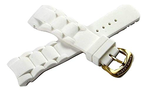 (Swiss Legend 28MM White Silicone Watch Strap Band, Gold Tone Stainless Buckle fits 46mm Commander Watch)