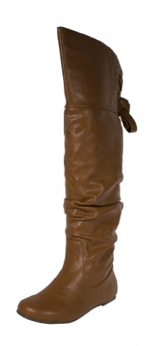 Womens Flat Pirate Boots (Letta! By Soda Sexy Fashion Pirate Inspired Slouchy Thigh-high Flat Boots with Lace-tie Back Design, tan leatherette, 6.5 M)