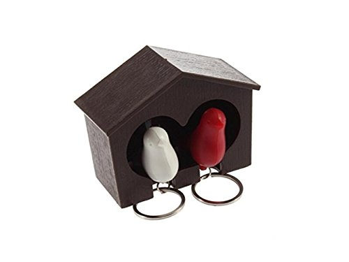 Yuchoi Perfectly Shaped Wood House Sparrow Bird Key Ring + Key Holder + Whistle (Red And White Bird)