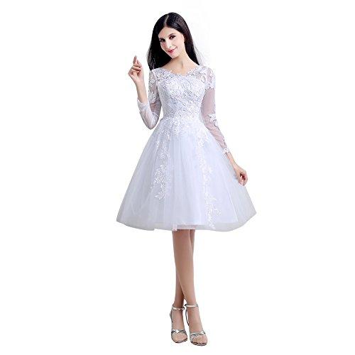 A Kleid Spitze Ärmel Weiß Line Knie Line Hochzeit Lange engerla Damen Aufnäher Empire Länge wq7xFczRCn