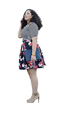 Rock Linie Plus Shirt Blumen T Eine Size aqwIw46