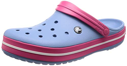 - crocs unisex-adult Crocband Clog, chambray blue/paradise pink, 12 US Men / 14 US Women