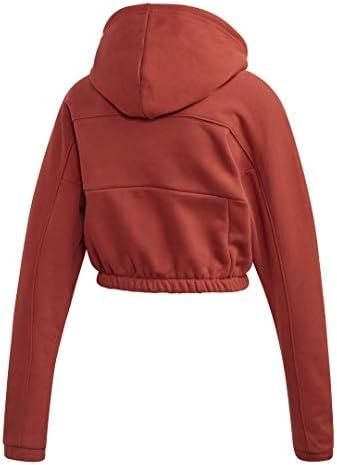 レディース クロップドフード付きスウェットシャツ US サイズ: X-Large カラー: オレンジ