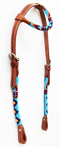 PRORIDER Horse Show Bridle Western Leather Headstall Beaded One Ear Reins Combo 79RT01A