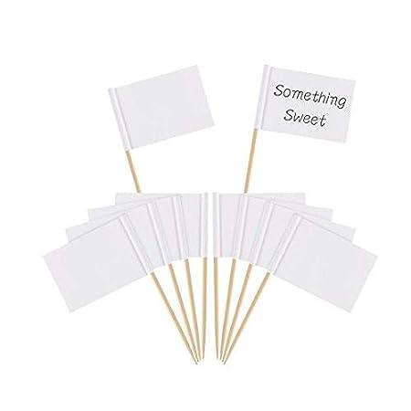 100/St/ück blanko Zahnstocher Flaggen K/äse Marker wei/ß Flaggen Labeling Kennzeichnung f/ür Party Kuchen Lebensmittel Cheeseplate Vorspeisen