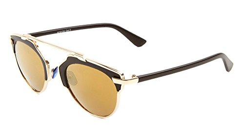 Glamour Metal Crossbar Aviator Sunglasses Chic Runway Fashion (Black/Gold, 49)