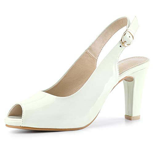 - Allegra K Women's Peep Toe Dress Slingback Chunky Heel White Pumps - 6.5 M US