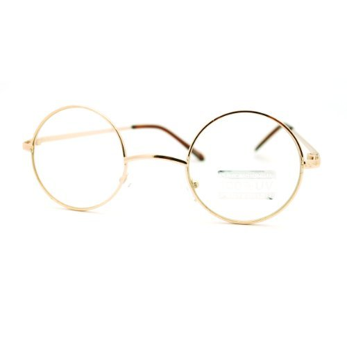 Gold Round Circle Clear Lens Eyeglasses Small Size Thin Frame Unisex - Eyeglasses Round Gold