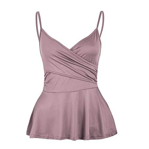 (Women Causal Soild Tank Tops Pleated Cross Deep V Camisole Vest Sleeveless Strap Halter Camis Blouse Pink)