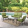 Mainstays Stanton Cushioned 4-Piece Patio Conversation Set, Green, Seats 4