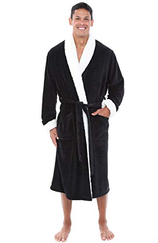 Alexander Del Rossa Mens Fleece Robe, Shawl Collar Bathrobe, Large XL Black with Sherpa Accents (A0261BLKXL) (House Sherpa)