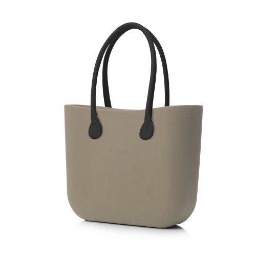 O Bag - Grand sac à anses longues en cuir synthétique, avec poche - Couleur pierre