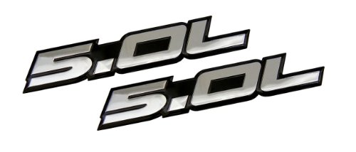 2 x (pair/set) 5.0L Emblems in SILVER on BLACK Highly Polished Aluminum Silver Chrome Engine Swap Badge for Ford Mustang GT F-150 Boss 302 Coyote Cobra GT500 V8 Crown Vic ()