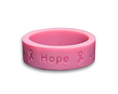 - 50 Pack Pink Silicone Rings For Breast Cancer Awareness (50 Rings)