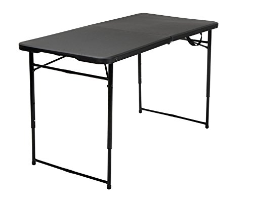 Adjustable Folding Table (Cosco Products Indoor Outdoor Adjustable Height Center Fold Tailgate Table with Carrying Handle, 4', Black)