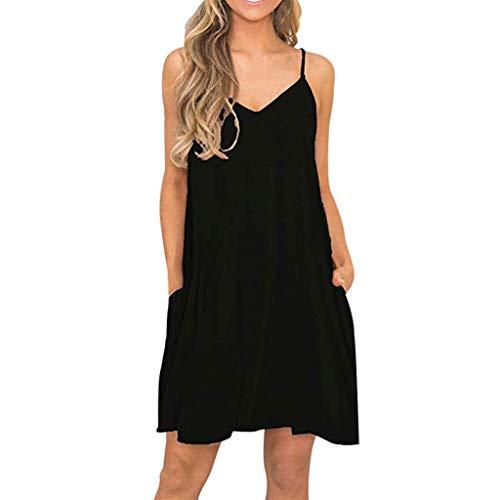 Big Sale,YetouWomen's Summer Vintage Floral Print Fashion Sleeveless Dress Casual Print Crew Neck Dres Black