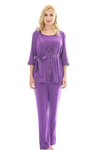 Bearsland Maternity Women's 3 Pieces Soft Nursing Pajamas Set Postpartum Sleepwear for Breastfeeding Purple (Women 3 Piece Set)
