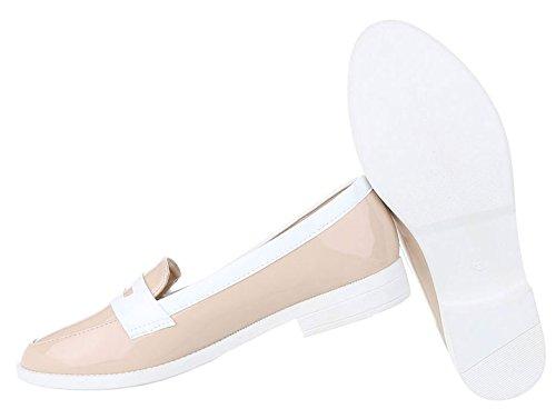 Elegante Damen Halbschuhe   Lack Slipper   Business Büro Schuhe    Zweifarbige Pumps   Schuhcity24 Beige ... 6f53296c94