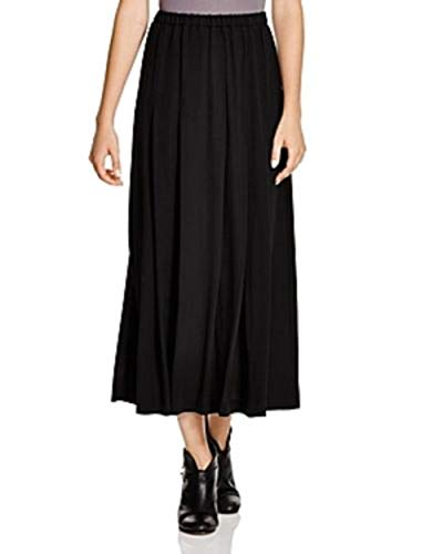 Eileen Fisher Black 100% Certified Dyeing Silk Pleated Maxi Skirt Size XS MSRP $358