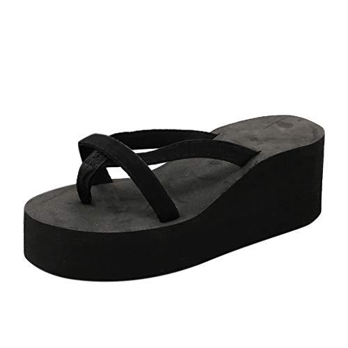 Dorothy Platform - Wedge Flip Flops for Women Respctful✿ Fashion Platform Thong Sandal Summer Strappy Comfortable Slip On Flats Black