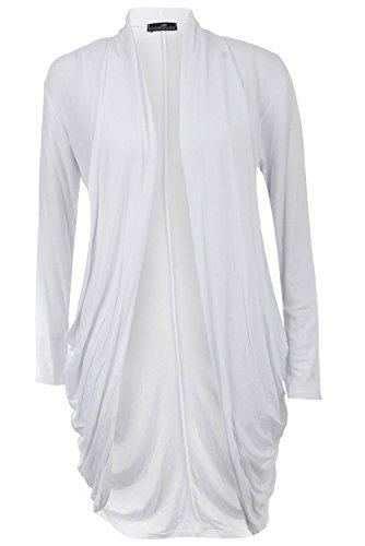 Fast Fashion Damen Cardigan Lang Aus Jersey White-r