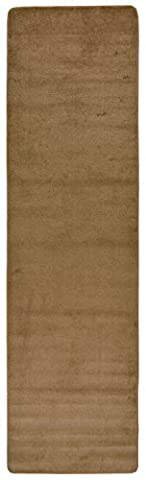 Comfy Solid Color Runner Area Rug 26 Inch Wide x Your Choice Length (8 ft or 10 ft or 12 ft) In 2 Color Options Slip Skid Resistant Rubber Back (Beige, (Area Rugs Runners 10)