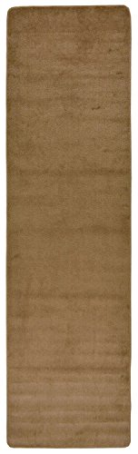 "Comfy Solid Color Runner Area Rug 26 Inch Wide x Your Choice Length (8 ft or 10 ft or 12 ft) In 2 Color Options Slip Skid Resistant Rubber Back (Beige, 2'2""x8') - Made in Turkey 